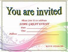 Word Templates Invitations Blank Invitation Templates Free Printable