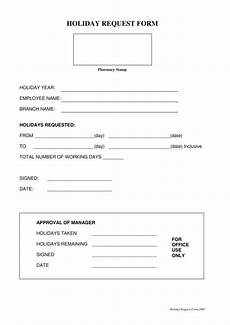 Absence Request Form Template 9 Holiday Request Form Templates Pdf Doc Free