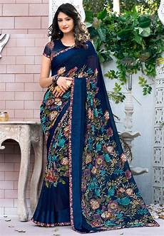digital printed georgette saree in royal blue ssf4527