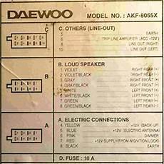 Разъёмы автомагнитол Daewoo