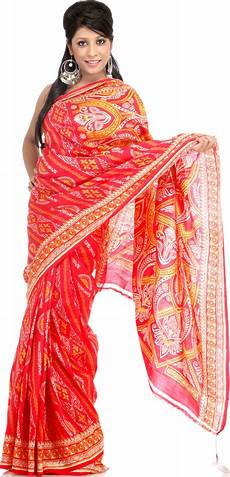 red sari from kolkata with traditional print
