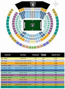 Raiders Tickets Seating Chart Seating And Pricing Map Raiders Com