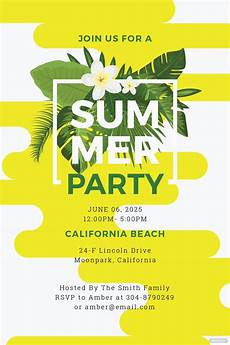 Summer Party Invites Free Summer Party Invitation Template In Microsoft Word