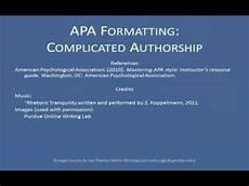What Is Apa Style Apa References List Complex Authors Youtube