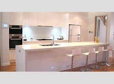 White modern kitchen, breakfast bar, island, stools, glass splashback for the home   ideas