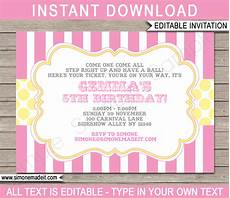 Pink Party Invitations Carnival Party Invitations Circus Pink And Yellow