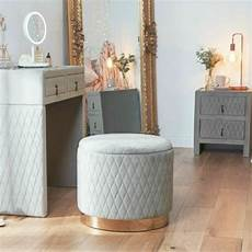 velvet storage stool ottoman quilted pouffe box