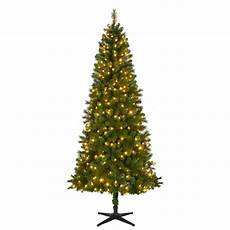 7 5 Slim Christmas Tree With Led Lights Home Accents Holiday 7 5 Ft Pre Lit Led Wesley Spruce