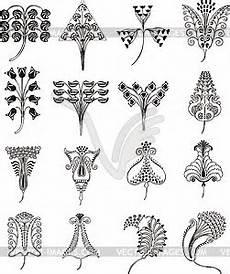 einfache florale ornamente im jugendstil vektorisierte