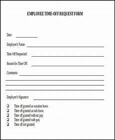 Employee Time Off Request Form Free 7 Sample Day Off Request Forms In Ms Word Pdf
