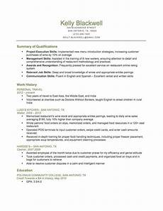 Resume For Food Industry Combination Food Service Resume Download This Resume