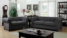 3 stanford gray fabric sofa set foa 6269sf