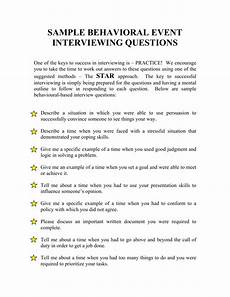 Sample Interviews Questions And Answers Sample Behavioral Event Interviewing Questions