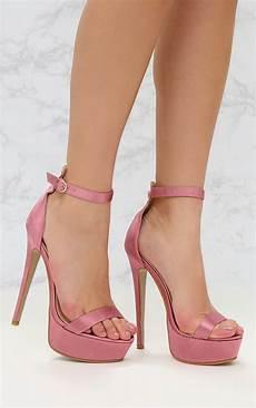 Light Pink Sparkly Heels Pink Satin Single Platform Heels Prettylittlething Usa