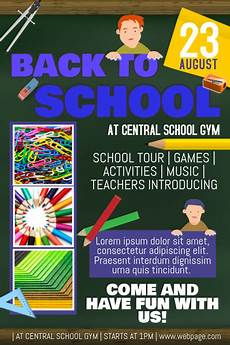 School Event Flyer Back To School Event Party Notebook Style Flyer Template