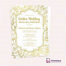 50th Anniversary Template Golden Wedding Anniversary Invitation Template Wedding