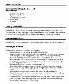 Flight Attendant Job Description Resume Sample Free 6 Flight Attendant Job Description Samples In Ms