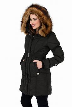 womens mid length padded parka coat faux fur hooded jacket