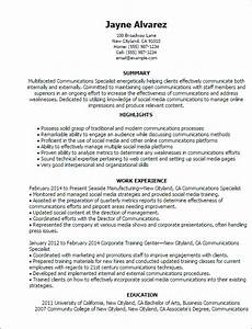 Communication Resume Skills Professional Communications Specialist Templates To