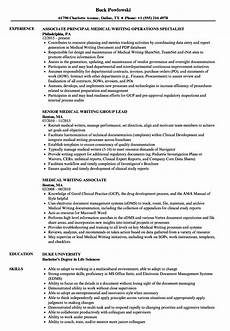 Clinical Writing Sample Medical Writing Resume Samples Velvet Jobs