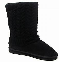 womens black sweater boots fashion mid calf foldover cable