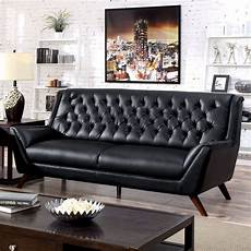 80 quot modern contemporary black bonded leather tufted
