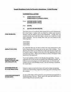 Absenteeism Report Template Sample Disciplinary Letter For Excessive Absenteeism Verbal
