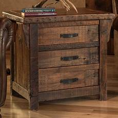 Hoobro End Table Rustic Side Table With 3 Tier Shelf by Rustic Reclaimed Barnwood 3 Drawer End Table