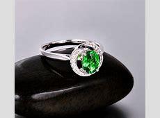 Unique 1 Carat Emerald and Diamond Halo Engagement Ring