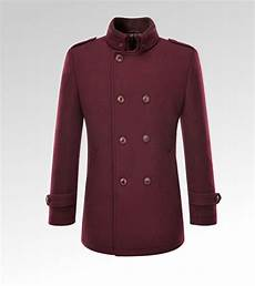 burgundy pea coats for burgundy business casual stand collar wool pea coat for