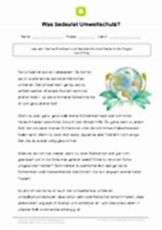 arbeitsblatt was bedeutet umweltschutz