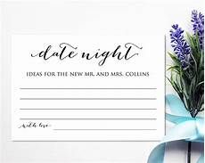 Date Night Card Templates Date Night Ideas Card Template Bridal Shower Game