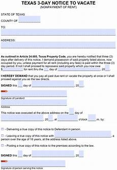 Texas Notice To Vacate Form Free Texas 3 Day Notice To Pay Or Quit Nonpayment Of