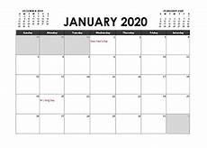 Calender Form Printable 2020 Excel Calendar Templates Calendarlabs