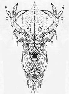 Ausmalbilder Tiere Schwierig Deer Design Mandala Tiere Geometrische