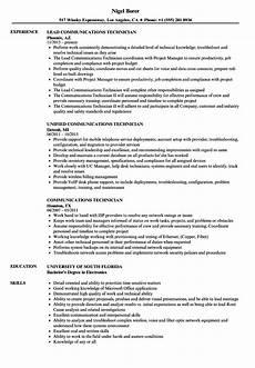 Communication Technician Resume Communications Technician Resume Samples Velvet Jobs
