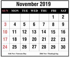 November Template Free November 2019 Printable Calendar Templates Pdf