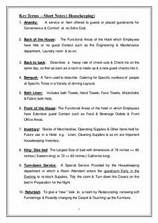 Housekeeping Work Order Format Key Terms For Housekeeping