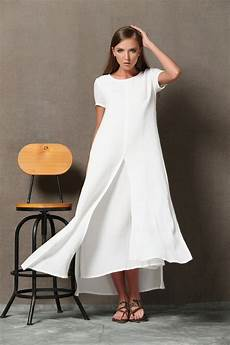 white layered cotton linen dress fitting sleeved