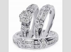 1 1/10 Carat T.W. Diamond Trio Matching Wedding Ring Set