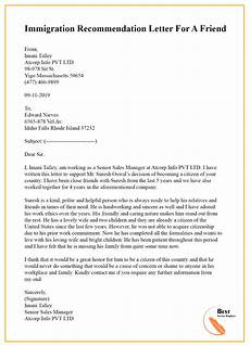 Reference Letter For Immigration For A Friend Immigration Recommendation Letter For A Friend Best