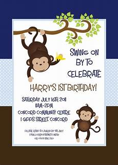 Monkey Birthday Invitations Brown And Blue Mod Monkey Birthday Invitations Animal