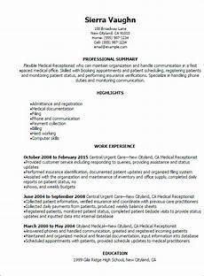 Receptionist Skills List Resumes Professional Medical Receptionist Resume Templates To