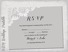 Rsvp Template Wedding Rsvp Template Download Diy Silver Gray Antique