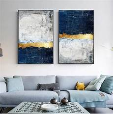 Contemporary Blue Modern Vintage Abstract Wall Art Golden Blue Gray Block