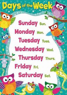 Printable Days Of The Week Chart Days Of The Week Children Kids Educational Poster Chart A4