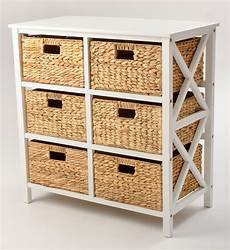 3 tier x side storage cabinet with 6 baskets in white