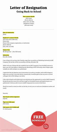 Resignation Letter Going Back To School Letter Of Resignation The Definitive Guide 9 Templates