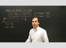 Speed of Sound Calculation in Air Physics   YouTube