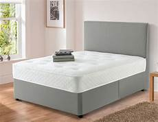 harrold grey chenille divan bed set with memory foam